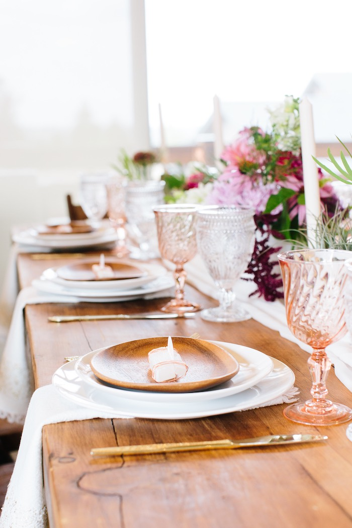 Wood Plate Table Settings from a Floral Boho 40th Birthday Fiesta on Kara's Party Ideas | KarasPartyIdeas.com (5)