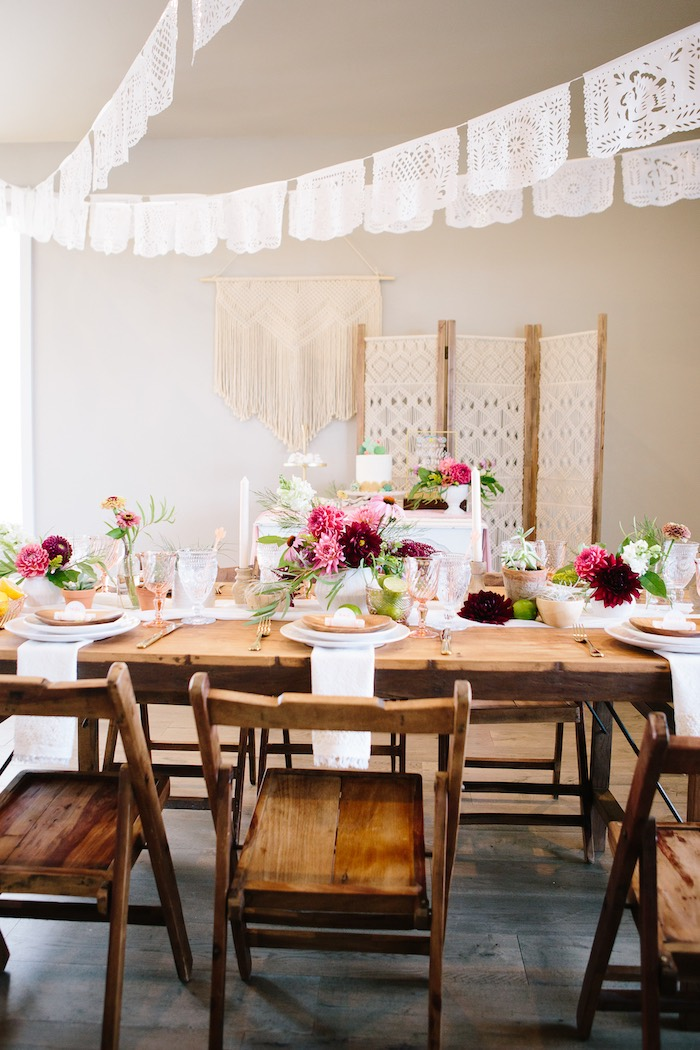 Guest Table from a Floral Boho 40th Birthday Fiesta on Kara's Party Ideas | KarasPartyIdeas.com (2)