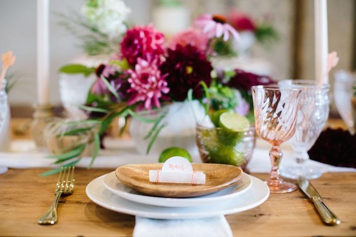 Table Setting from a Floral Boho 40th Birthday Fiesta on Kara's Party Ideas | KarasPartyIdeas.com (26)
