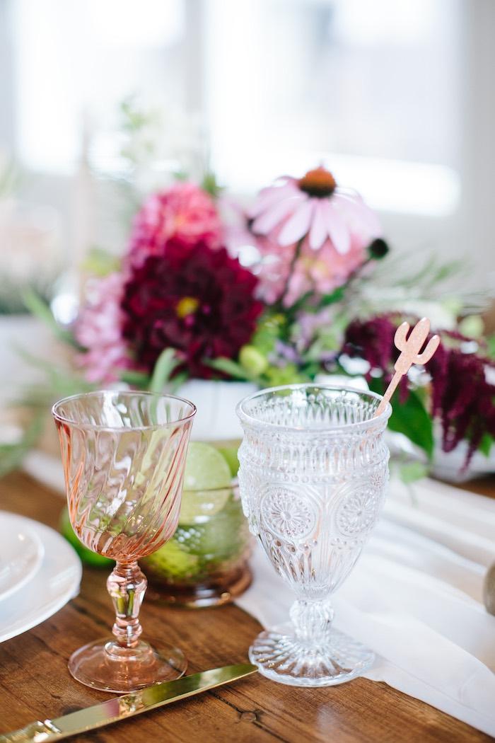Glass Goblets from a Floral Boho 40th Birthday Fiesta on Kara's Party Ideas | KarasPartyIdeas.com (24)