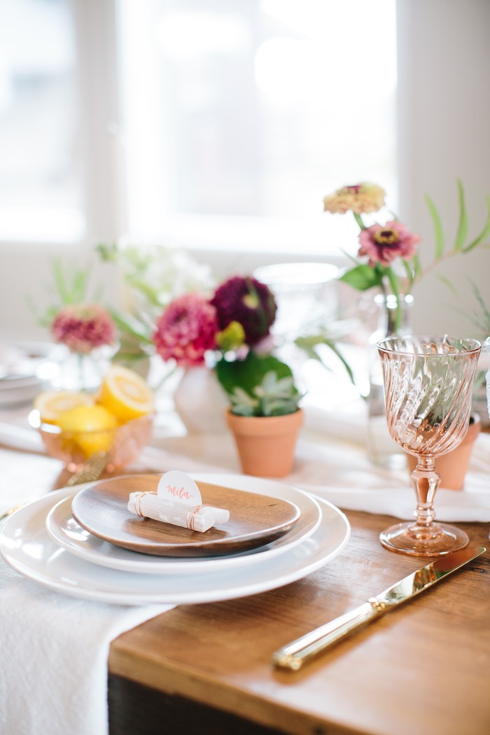 Chic Wood Plate Table Setting from a Floral Boho 40th Birthday Fiesta on Kara's Party Ideas | KarasPartyIdeas.com (23)