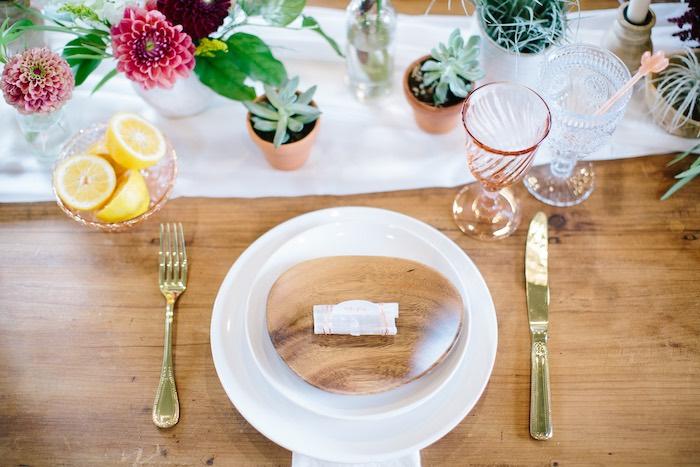 Wood Plate Table Setting from a Floral Boho 40th Birthday Fiesta on Kara's Party Ideas | KarasPartyIdeas.com (22)
