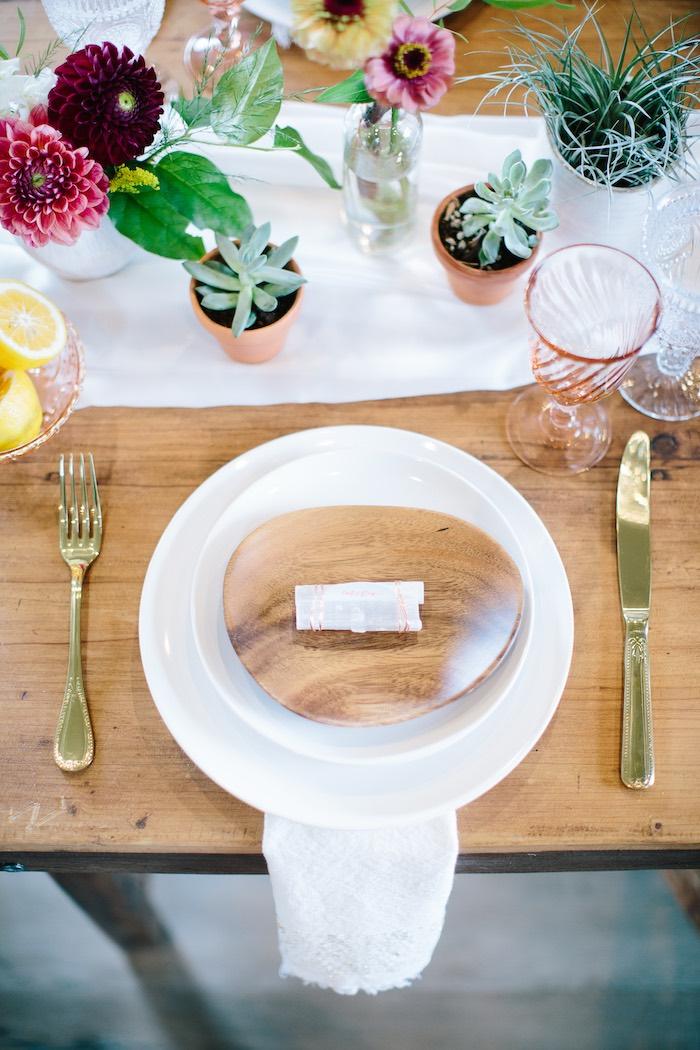 Wood Plate Table Setting from a Floral Boho 40th Birthday Fiesta on Kara's Party Ideas | KarasPartyIdeas.com (21)