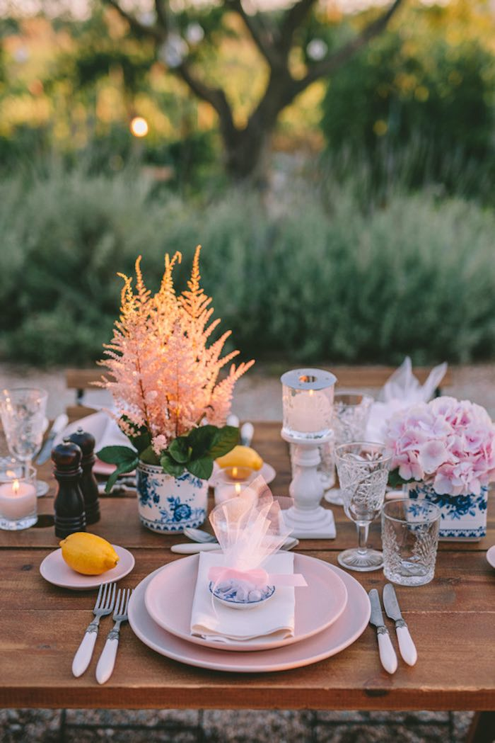 Table Setting from a Floral Vineyard Baptism Celebration on Kara's Party Ideas | KarasPartyIdeas.com (34)