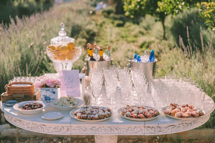 Beverage Table from a Floral Vineyard Baptism Celebration on Kara's Party Ideas | KarasPartyIdeas.com (33)