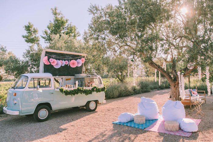 Vintage VW Beverage Bar from a Floral Vineyard Baptism Celebration on Kara's Party Ideas | KarasPartyIdeas.com (32)