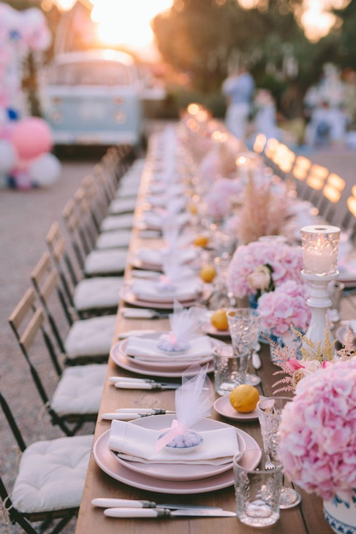Floral Guest Table from a Floral Vineyard Baptism Celebration on Kara's Party Ideas | KarasPartyIdeas.com (31)
