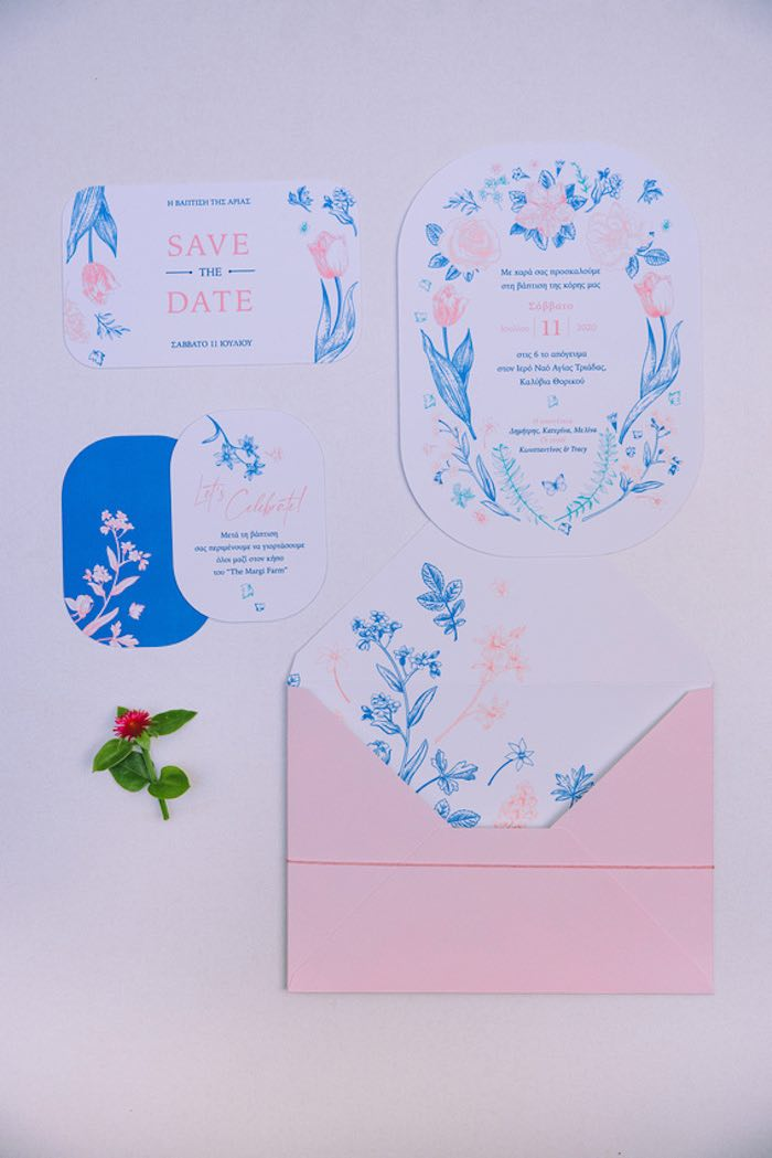 Floral White + Pink + Blue Stationery + Party Invite from a Floral Vineyard Baptism Celebration on Kara's Party Ideas | KarasPartyIdeas.com (29)