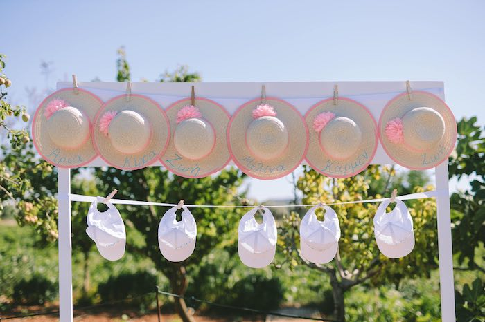 Hat Favors from a Floral Vineyard Baptism Celebration on Kara's Party Ideas | KarasPartyIdeas.com (27)