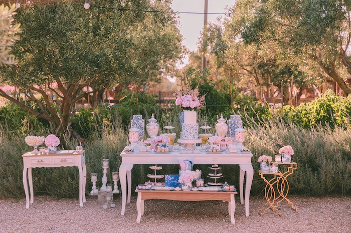Dessert Table from a Floral Vineyard Baptism Celebration on Kara's Party Ideas | KarasPartyIdeas.com (43)