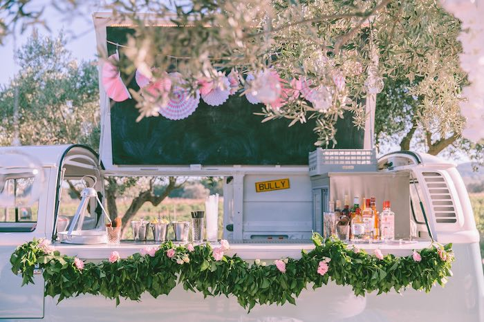 Vintage VW Beverage Bar from a Floral Vineyard Baptism Celebration on Kara's Party Ideas | KarasPartyIdeas.com (24)