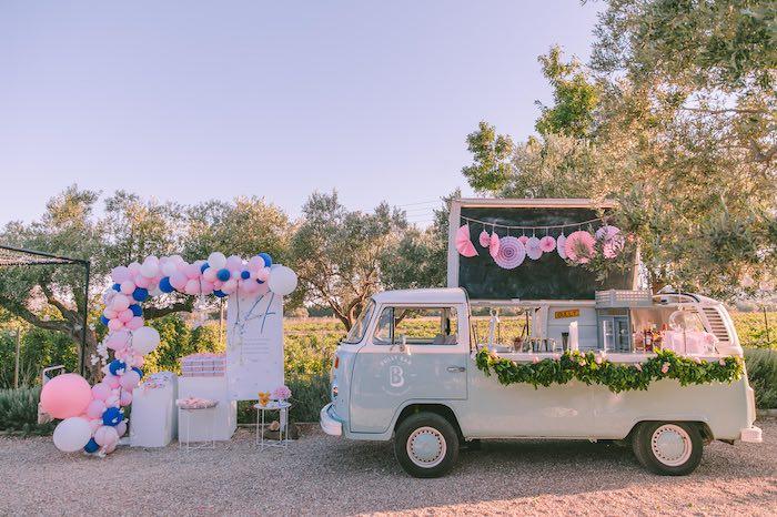 Vintage VW Beverage Bar + Favor Table from a Floral Vineyard Baptism Celebration on Kara's Party Ideas | KarasPartyIdeas.com (23)