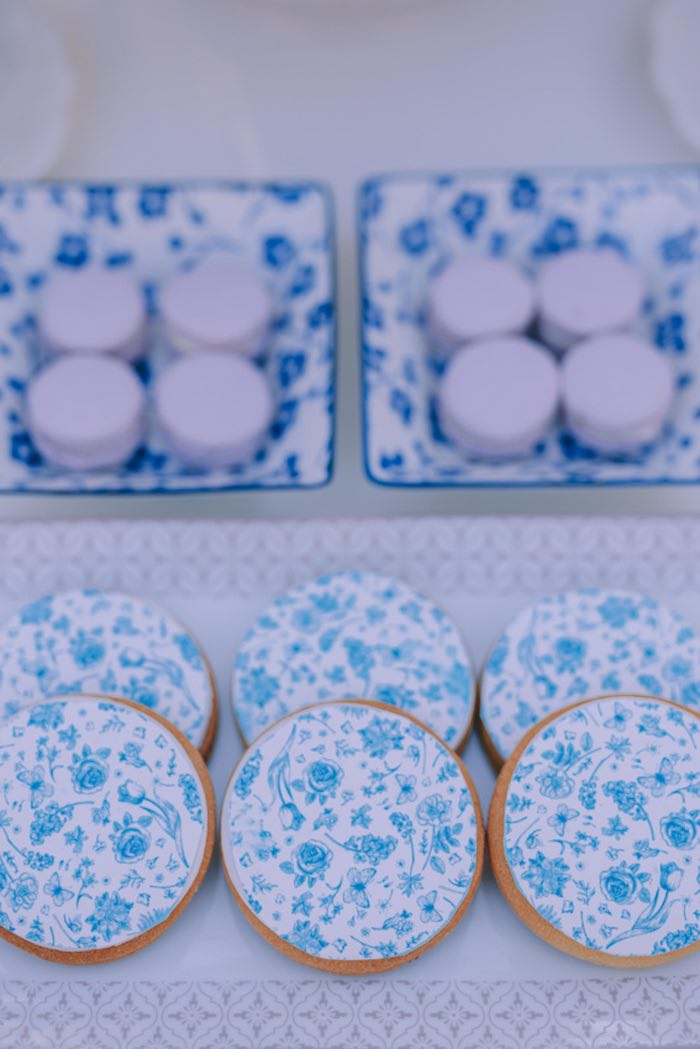 Blue & White Floral Cookies from a Floral Vineyard Baptism Celebration on Kara's Party Ideas | KarasPartyIdeas.com (18)