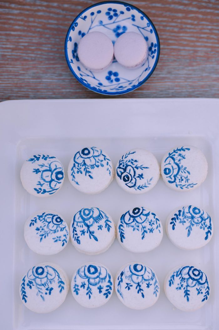 Blue & White Floral Macarons from a Floral Vineyard Baptism Celebration on Kara's Party Ideas | KarasPartyIdeas.com (17)