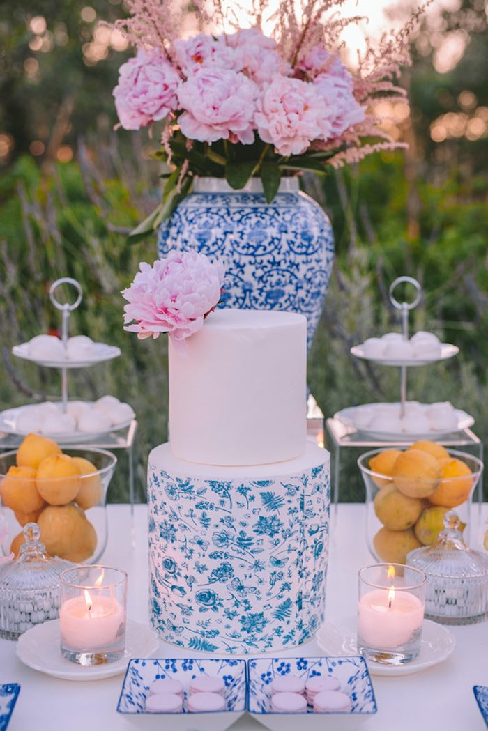 Blue & White Floral Cake from a Floral Vineyard Baptism Celebration on Kara's Party Ideas | KarasPartyIdeas.com (16)