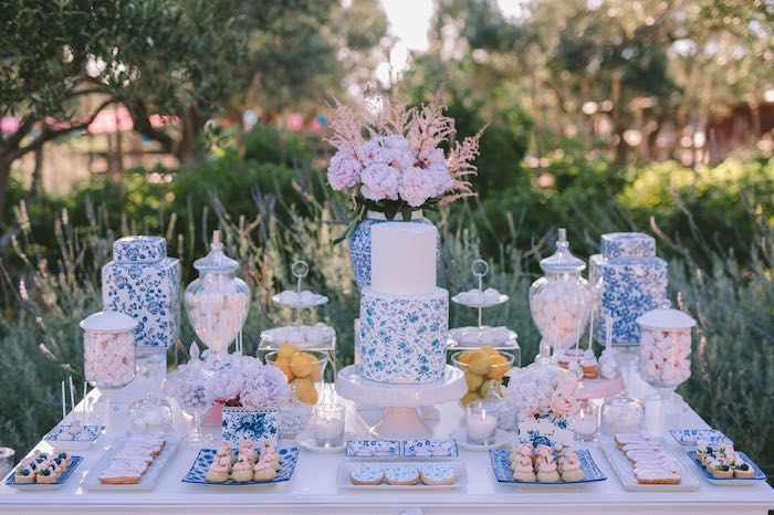 Blue & White Floral Dessert Table from a Floral Vineyard Baptism Celebration on Kara's Party Ideas | KarasPartyIdeas.com (15)