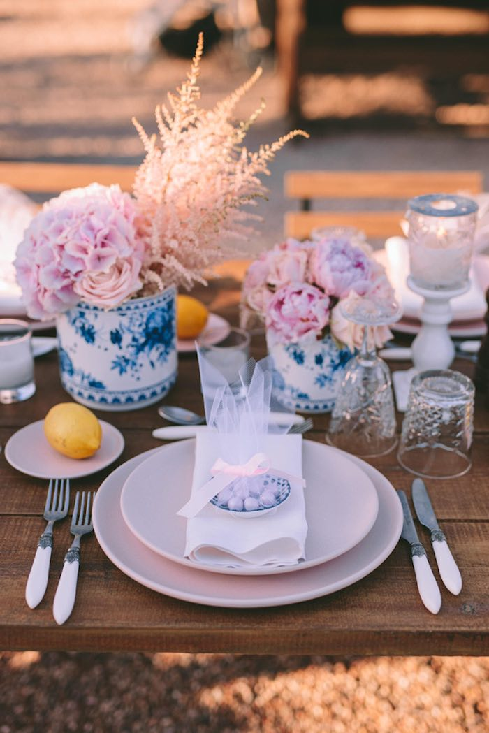 Table Setting from a Floral Vineyard Baptism Celebration on Kara's Party Ideas | KarasPartyIdeas.com (42)