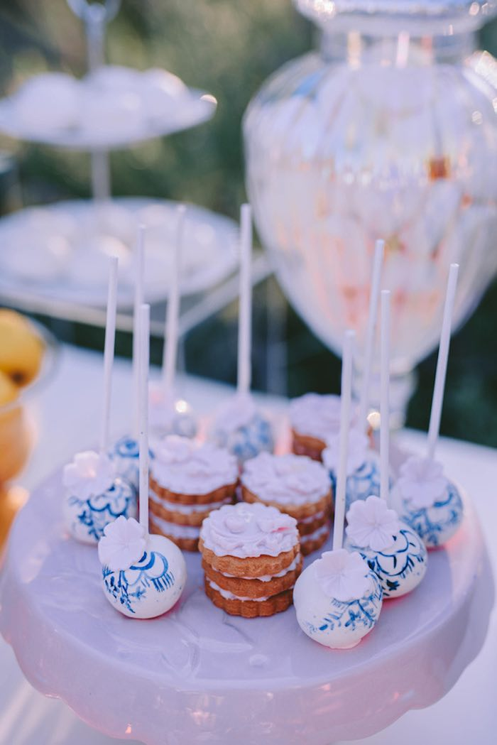 Blue & White Floral Cake Pops + Stacked Cookies from a Floral Vineyard Baptism Celebration on Kara's Party Ideas | KarasPartyIdeas.com (13)