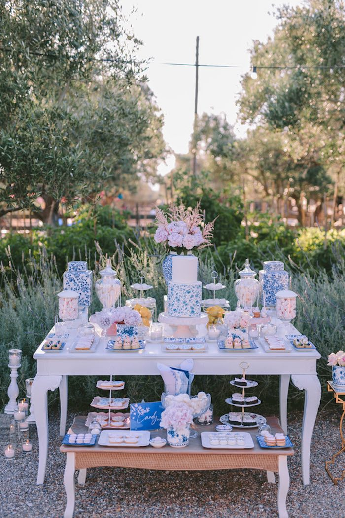 Blue & White Floral Dessert Table from a Floral Vineyard Baptism Celebration on Kara's Party Ideas | KarasPartyIdeas.com (12)