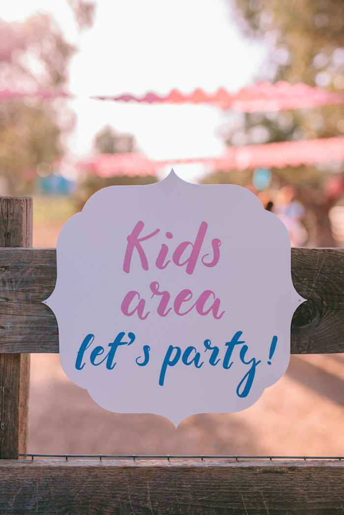 Kid Area Signage from a Floral Vineyard Baptism Celebration on Kara's Party Ideas | KarasPartyIdeas.com (10)