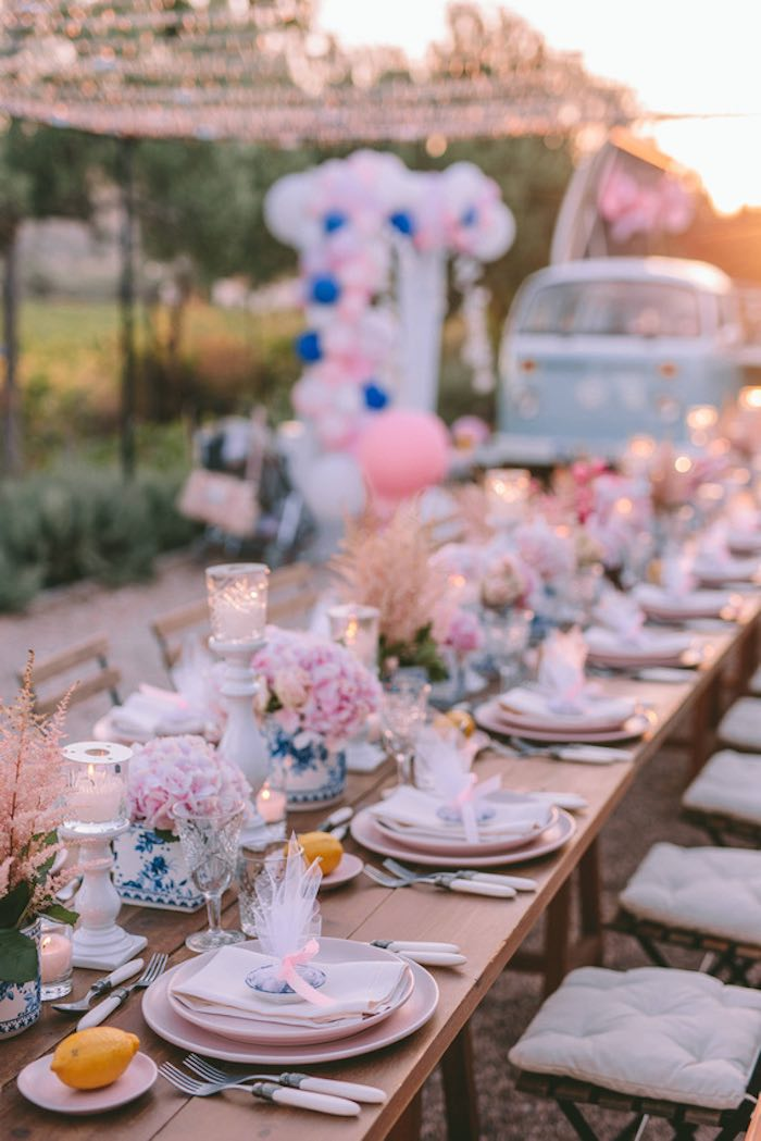 Guest Table from a Floral Vineyard Baptism Celebration on Kara's Party Ideas | KarasPartyIdeas.com (7)