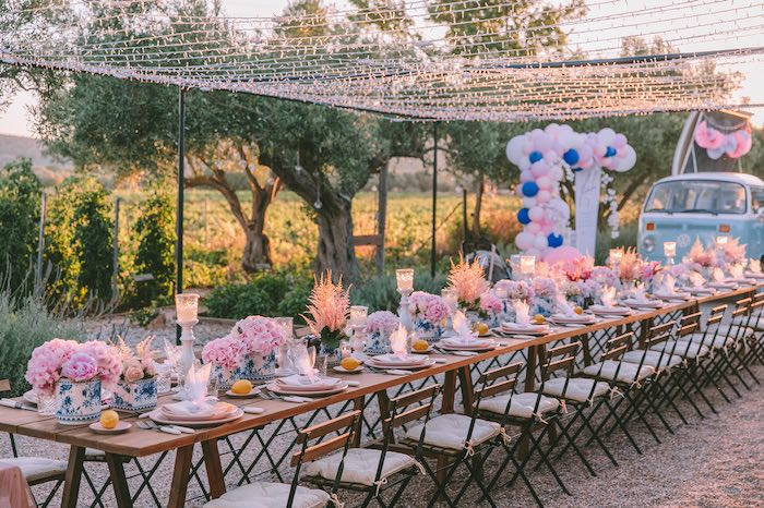 Guest Table from a Floral Vineyard Baptism Celebration on Kara's Party Ideas | KarasPartyIdeas.com (6)