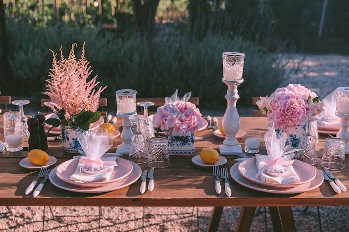 Guest Table from a Floral Vineyard Baptism Celebration on Kara's Party Ideas | KarasPartyIdeas.com (41)