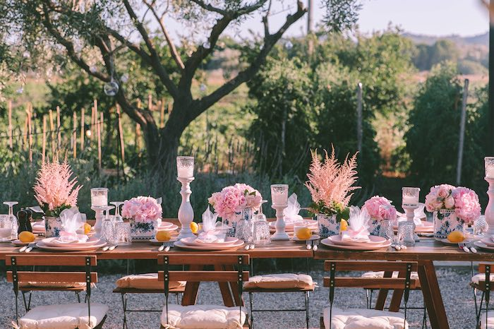 Guest Table from a Floral Vineyard Baptism Celebration on Kara's Party Ideas | KarasPartyIdeas.com (40)