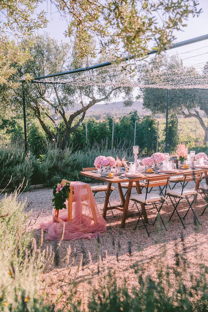 Guest Table from a Floral Vineyard Baptism Celebration on Kara's Party Ideas | KarasPartyIdeas.com (39)