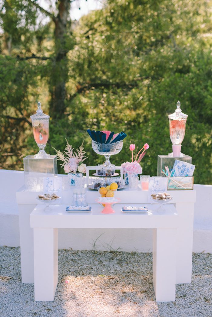 Beverage + Sweet Table from a Floral Vineyard Baptism Celebration on Kara's Party Ideas | KarasPartyIdeas.com (37)