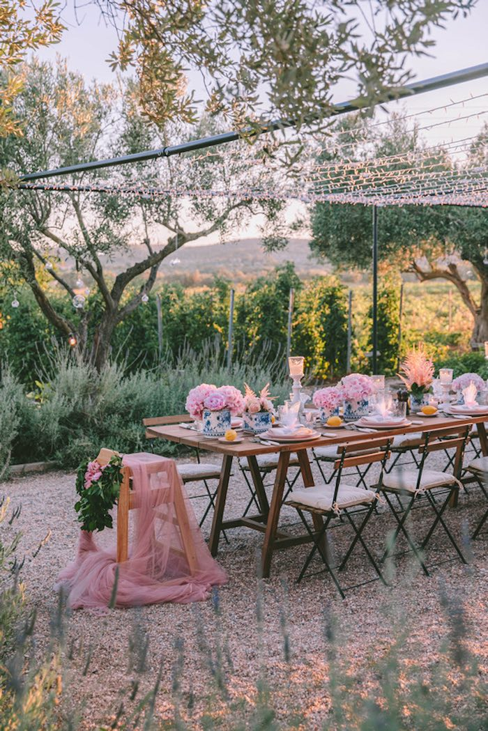 Guest Table from a Floral Vineyard Baptism Celebration on Kara's Party Ideas | KarasPartyIdeas.com (36)
