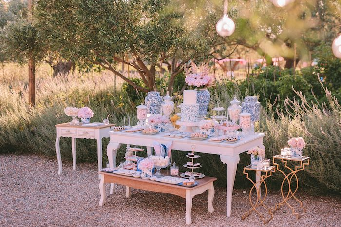 Floral Blue + Pink + White Dessert Table from a Floral Vineyard Baptism Celebration on Kara's Party Ideas | KarasPartyIdeas.com (35)