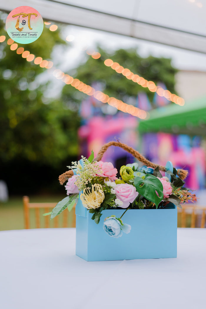 Guest Table + Floral Centerpiece from a Girly Dino Birthday Party on Kara's Party Ideas | KarasPartyIdeas.com (18)