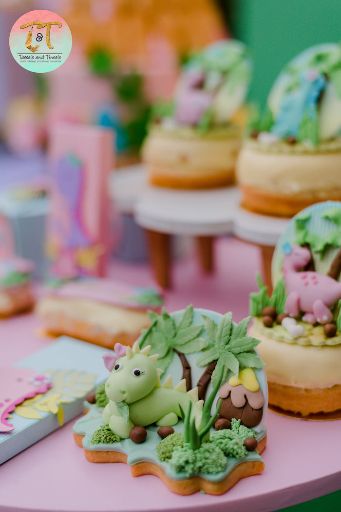 3D Dinosaur Cookie from a Girly Dino Birthday Party on Kara's Party Ideas | KarasPartyIdeas.com (17)