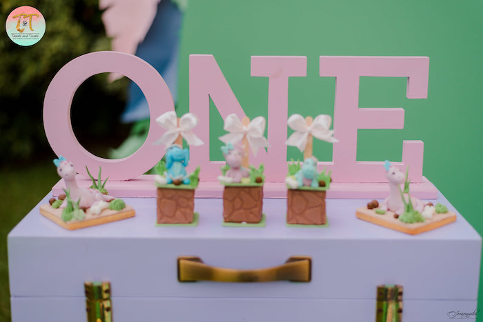 Dinosaur Themed Dessert Table from a Girly Dino Birthday Party on Kara's Party Ideas | KarasPartyIdeas.com (15)