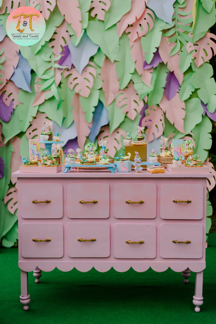 Dinosaur Themed Dessert Table from a Girly Dino Birthday Party on Kara's Party Ideas | KarasPartyIdeas.com (13)