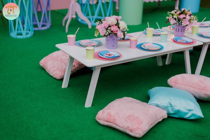 Dinosaur-inspired Kid Table from a Girly Dino Birthday Party on Kara's Party Ideas | KarasPartyIdeas.com (12)
