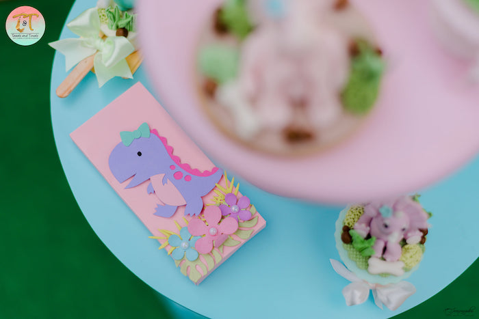 Girly Dinosaur-inspired Candy Bar from a Girly Dino Birthday Party on Kara's Party Ideas | KarasPartyIdeas.com (10)