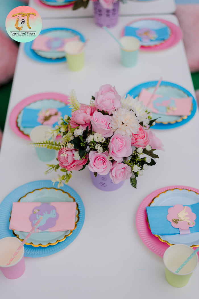 Dinosaur-inspired Kid Table from a Girly Dino Birthday Party on Kara's Party Ideas | KarasPartyIdeas.com (9)