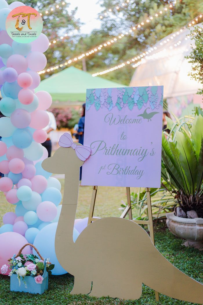 Dinosaur Standee Welcome Sign from a Girly Dino Birthday Party on Kara's Party Ideas | KarasPartyIdeas.com (5)