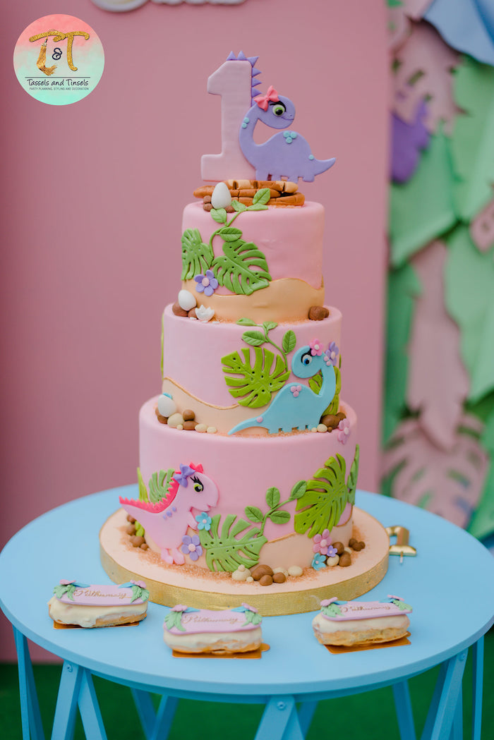 Girly Dinosaur Cake from a Girly Dino Birthday Party on Kara's Party Ideas | KarasPartyIdeas.com (3)