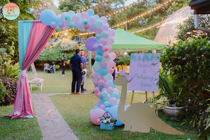 Balloon Arch Party Entrance from a Girly Dino Birthday Party on Kara's Party Ideas | KarasPartyIdeas.com (2)