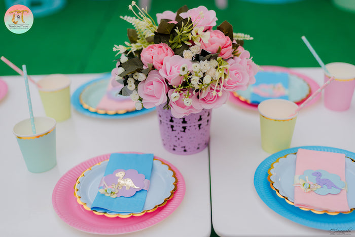 Dinosaur-inspired Kid Table from a Girly Dino Birthday Party on Kara's Party Ideas | KarasPartyIdeas.com (27)