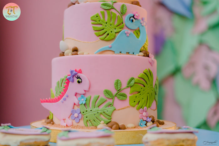 Dinosaur Themed Birthday Cake from a Girly Dino Birthday Party on Kara's Party Ideas | KarasPartyIdeas.com (26)