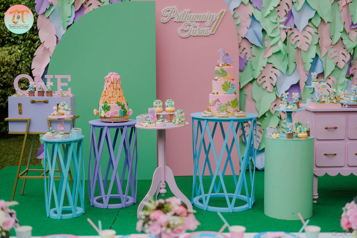 Dinosaur Themed Cake + Dessert Tables from a Girly Dino Birthday Party on Kara's Party Ideas | KarasPartyIdeas.com (23)