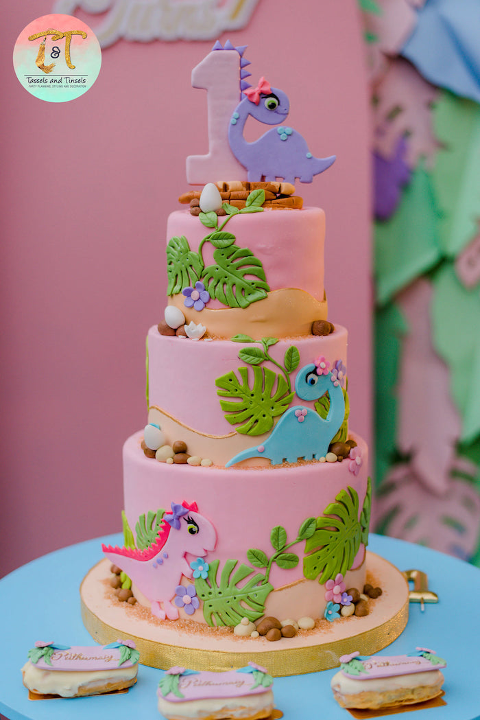 Dinosaur-inspired Birthday Cake from a Girly Dino Birthday Party on Kara's Party Ideas | KarasPartyIdeas.com (22)