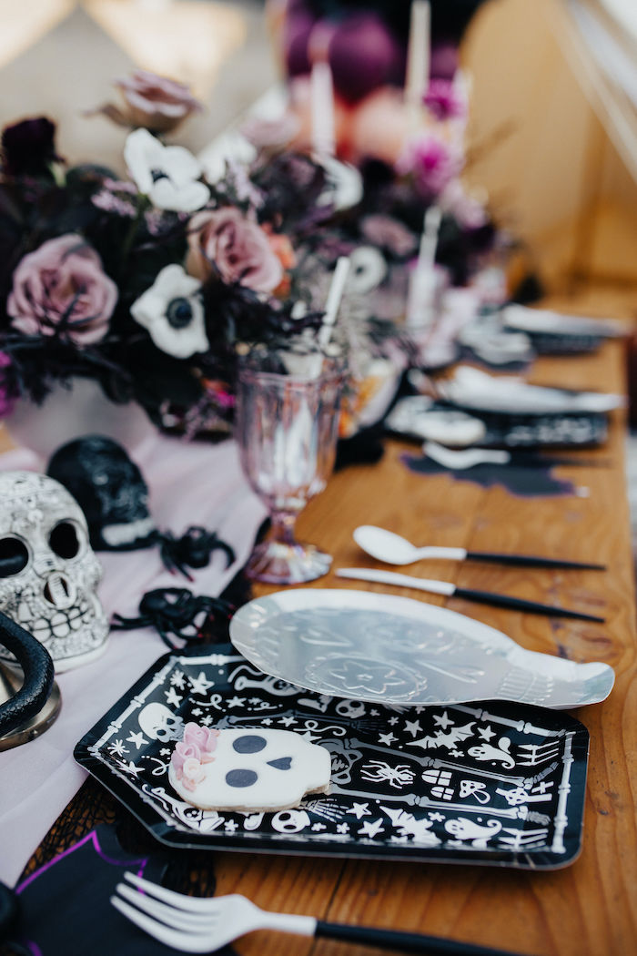 Skeleton-inspired Table Setting from a Girly Gothic Halloween Party on Kara's Party Ideas | KarasPartyIdeas.com (19)