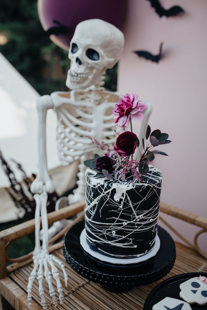Gothic Halloween Cake from a Girly Gothic Halloween Party on Kara's Party Ideas | KarasPartyIdeas.com (18)