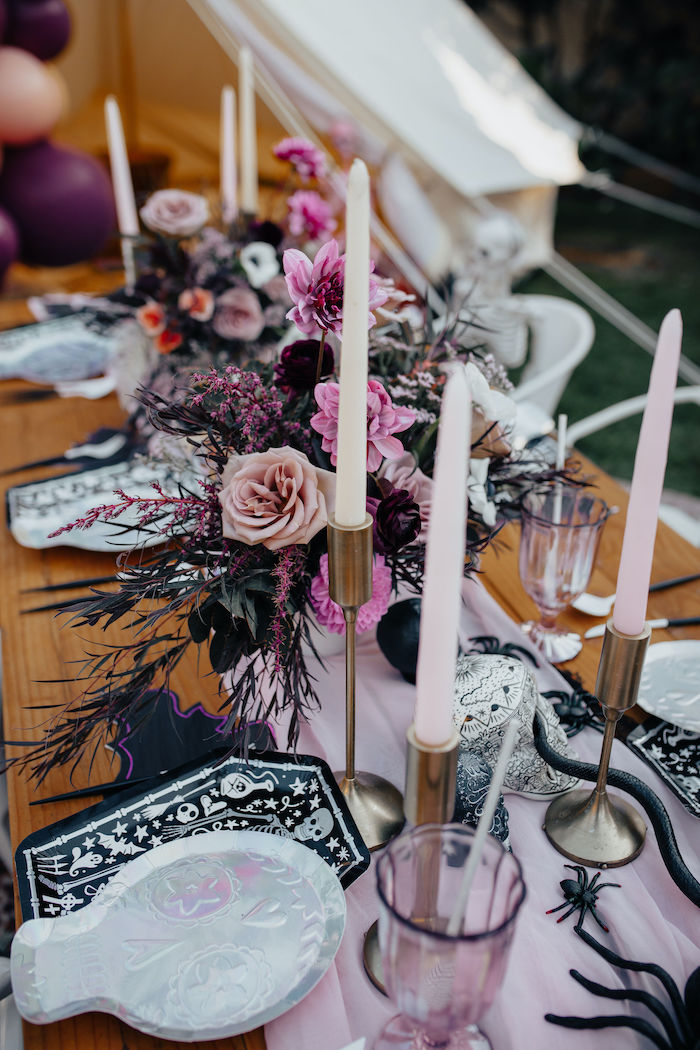 Gothic Floral Arrangement from a Girly Gothic Halloween Party on Kara's Party Ideas | KarasPartyIdeas.com (12)