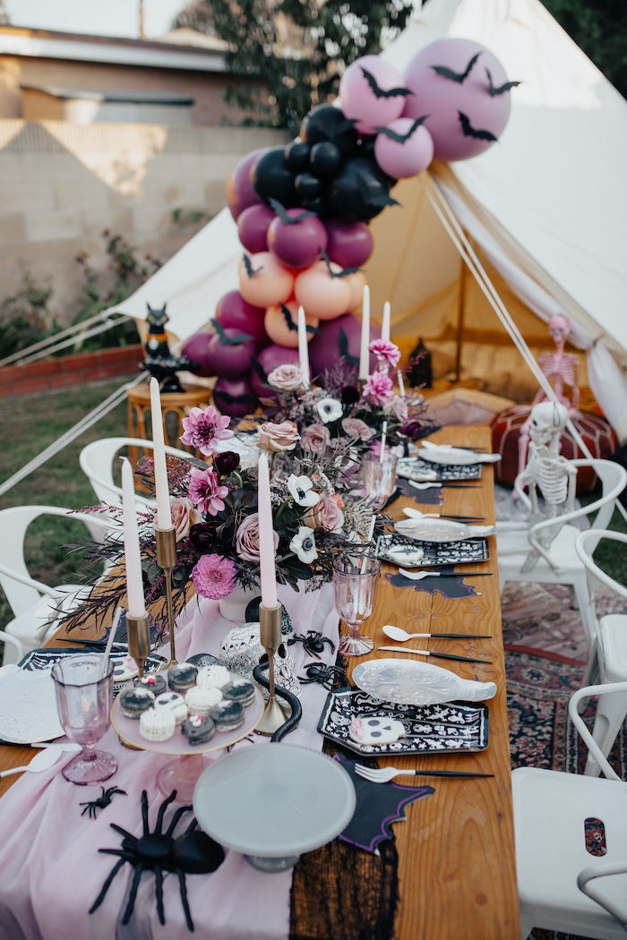 Halloween Guest Table from a Girly Gothic Halloween Party on Kara's Party Ideas | KarasPartyIdeas.com (9)